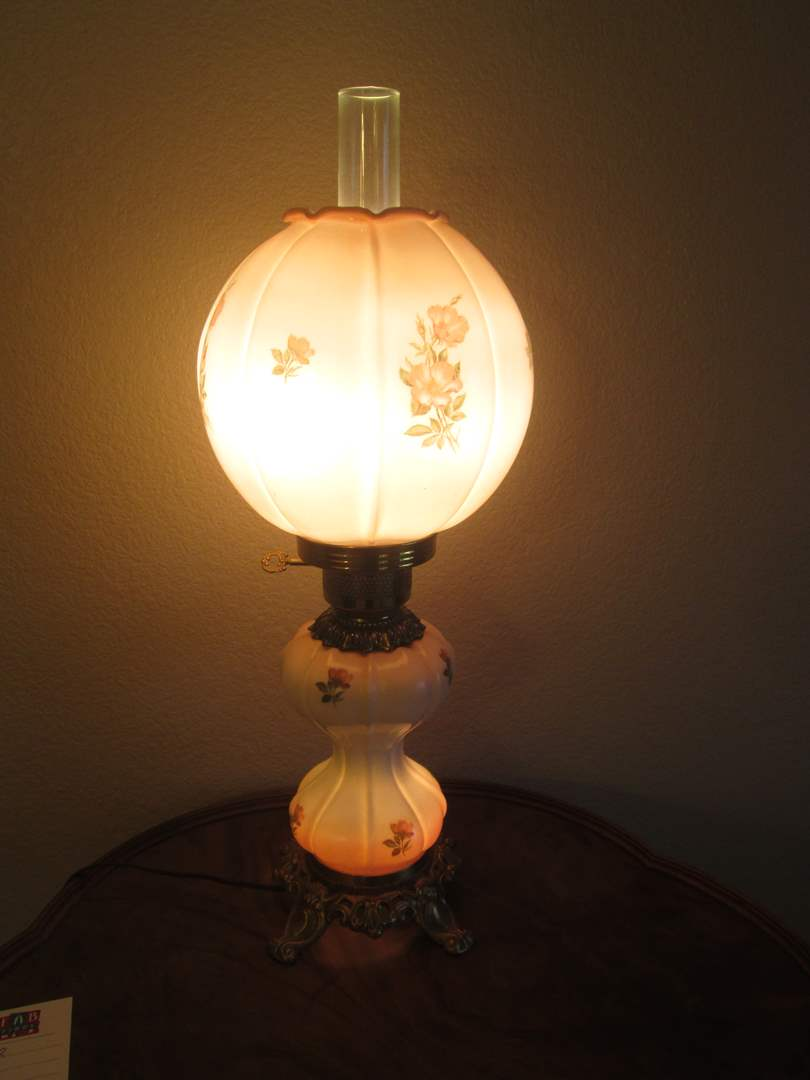 Lot # 2 - Floral Design Hurricane Lamp, Gone With the Wind (main image)