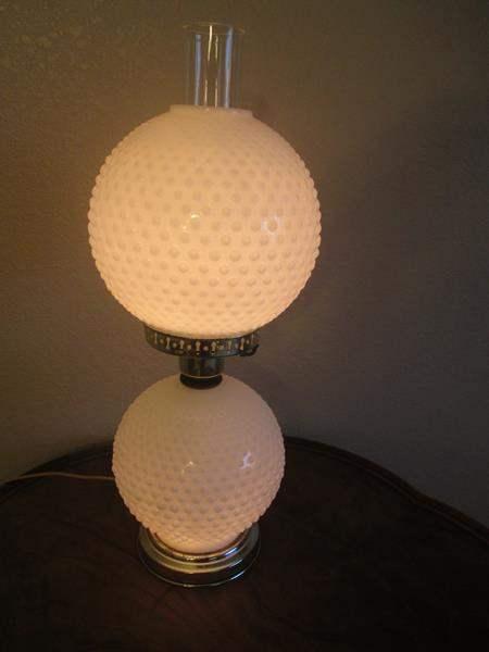 Lot # 5 - Milk Glass Hob Nail Hurricane Lamp (main image)