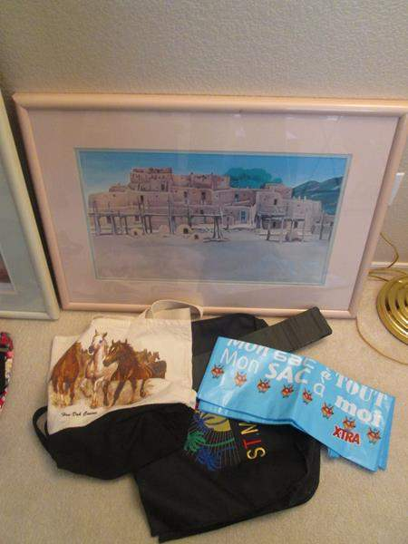 Lot # 14 - Framed Picture & Tote Bags (main image)