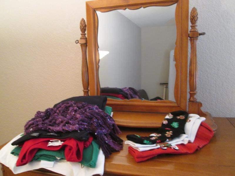 Lot # 21 - Swivel Mirror & Miscellaneous Ladies Clothes, M/L (main image)