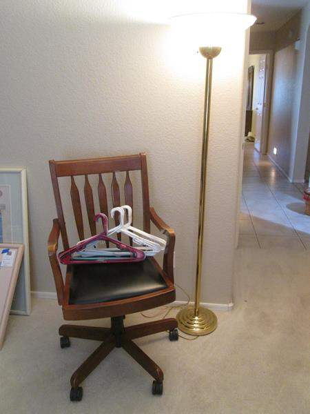 Lot # 22 - Floor Lamp, Desk Chair & Hangers (main image)