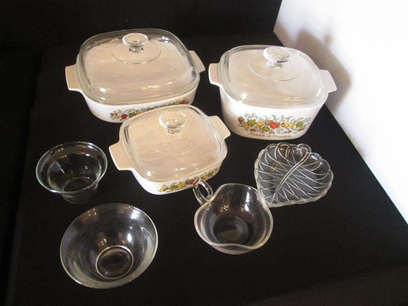Lot # 25 - Vintage Corning Ware + Variety of Kitchen Items, 10 pieces (main image)