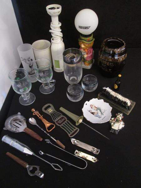 Lot # 38 - Variety of Bar Ware, Bar Lamp + Braun Blender (main image)