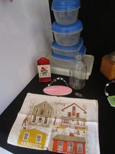 Lot # 41 - Storage Containers, Milk Bottle & Match Holder (main image)
