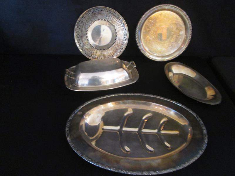 Lot # 46 - Silver Plate Serving Pieces, 6 Items (main image)