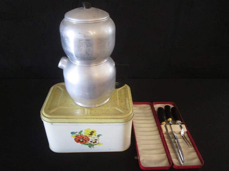 Lot # 49 - Vintage Percolator, Breadbox & Carving Set (main image)