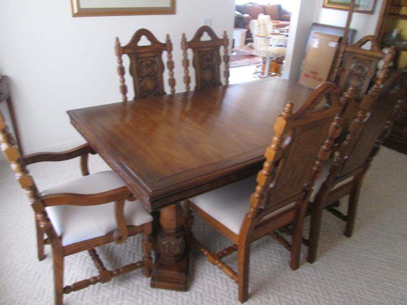 """Lot # 51 - Vintage Spanish Revival Table/6-Chairs, 24"""" Leaf & Pads.  Details Below! (main image)"""