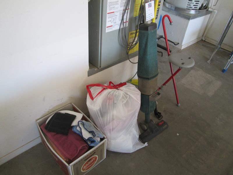 Lot # 64 - Hoover Vacuum, Car Rack, Rag Bag, Folding Seat (main image)