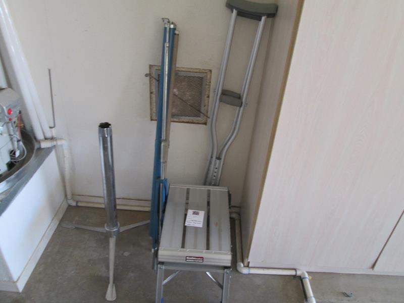 Lot # 67 - Movie Screen, Crutches, Stand & Folding Work Stool (main image)