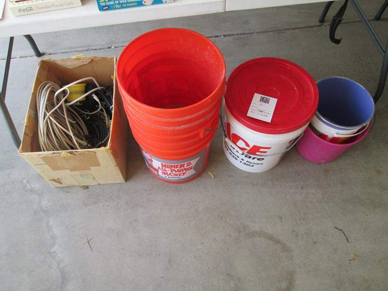 Lot # 73 - Cable Wires & 7-Buckets (main image)
