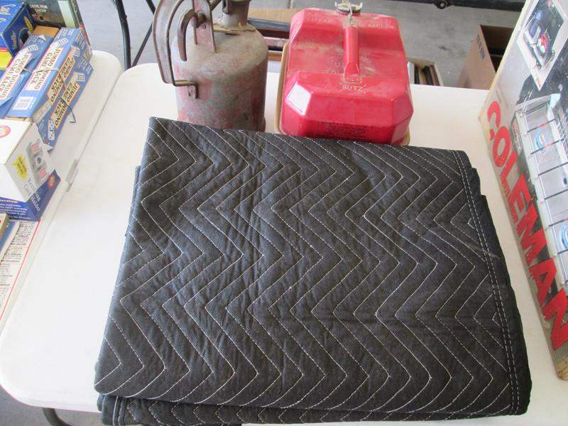 Lot # 76 - 3-NEW Moving Blankets + Vintage Gas Cans (main image)