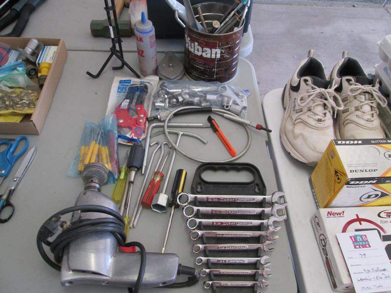 Lot # 79 - 9-Piece Craftsman Wrenches, Electric Drill + Misc. Tools (main image)