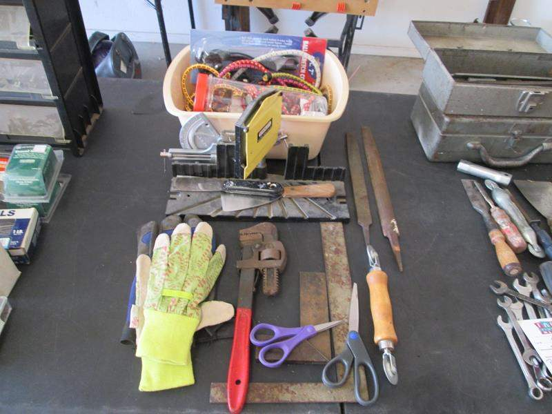 Lot # 84 - Miter Box, Bungie Cords + Assorted Tools (main image)