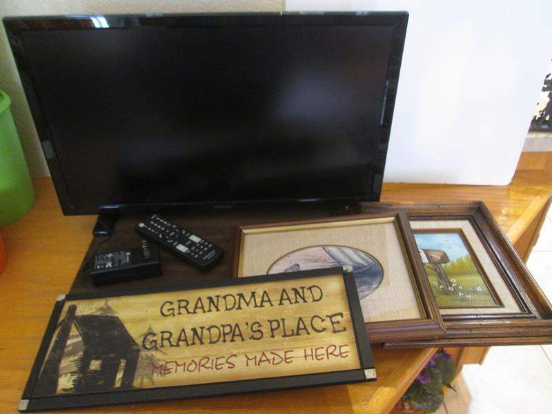 Lot # 58 - Insignia TV, Monitor & Framed Pictures/Plaque (main image)