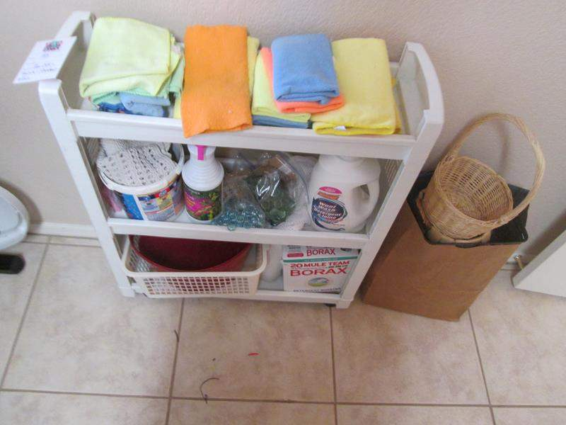 Lot # 143 - Miscellaneous Cleaning Supplies & Micro Fiber Rags + Baskets (main image)