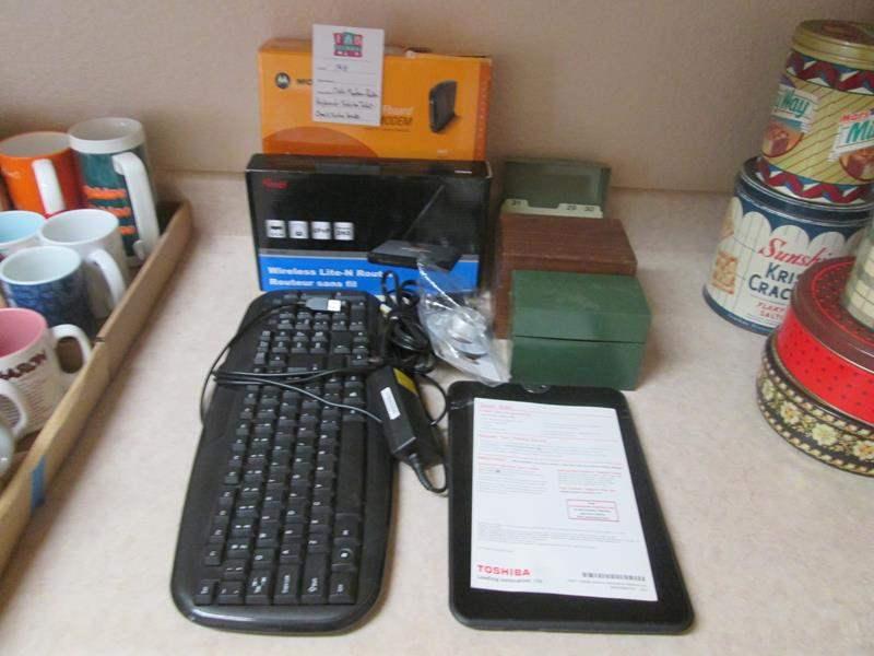 Lot # 148 - Modem, Keyboard, Toshiba Tablet + Index Boxes (main image)