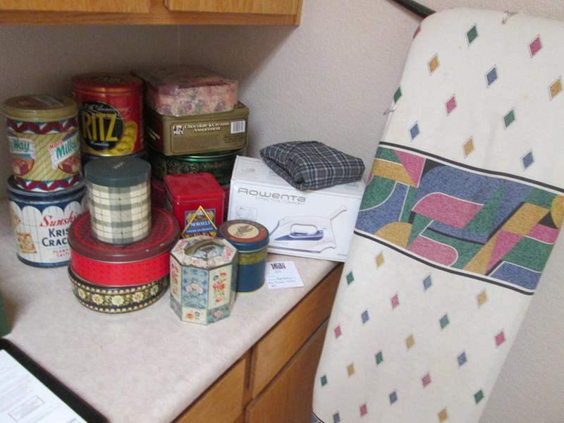 Lot # 149 - Iron, Ironing Board & Tins (main image)