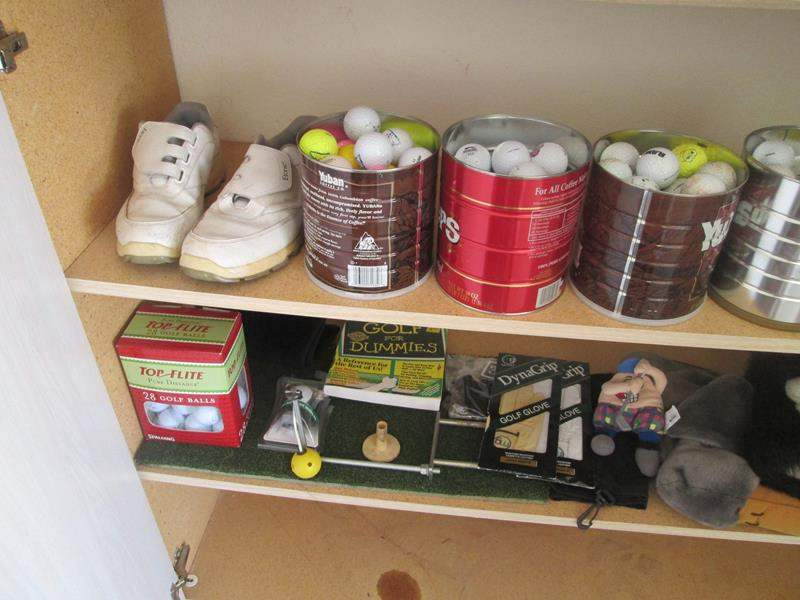 Lot # 159 - 2-Pair Golf Shoes (Size 7 & 10) + Golf Balls & Accessories (main image)