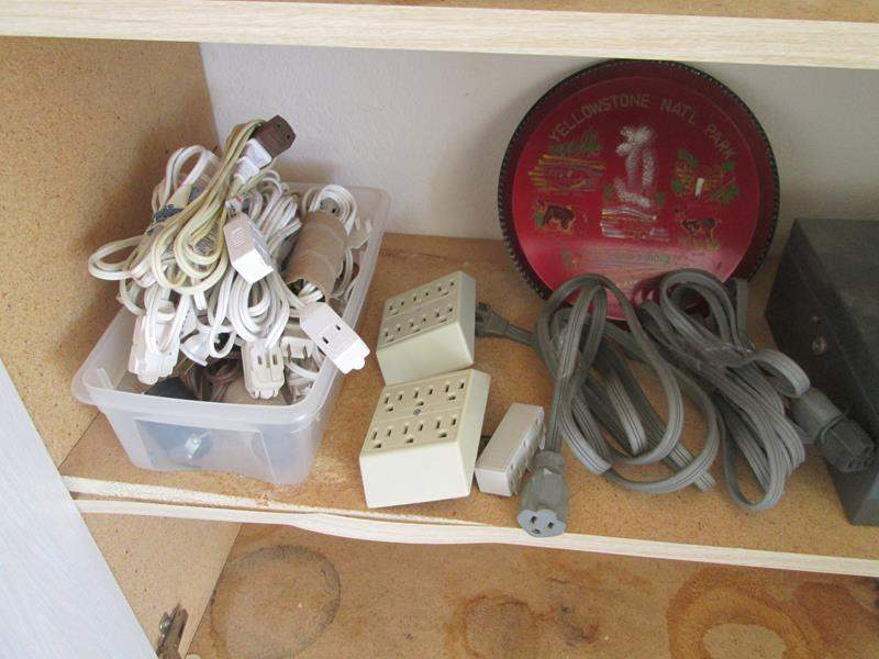 Lot # 162 - 2-Bike Helmets, Electric Cords & Tin Box (main image)