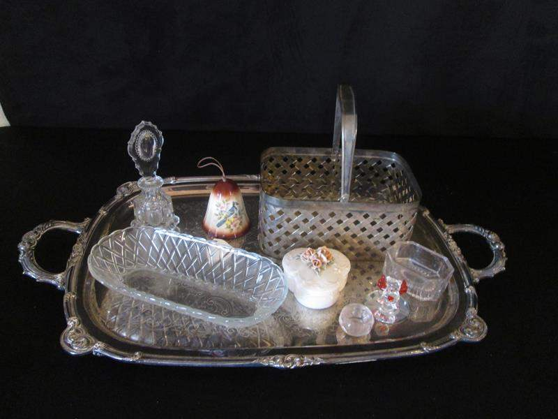 Lot # 109 - Silver Plated Tray, Perfume Bottle + Assorted Items (main image)