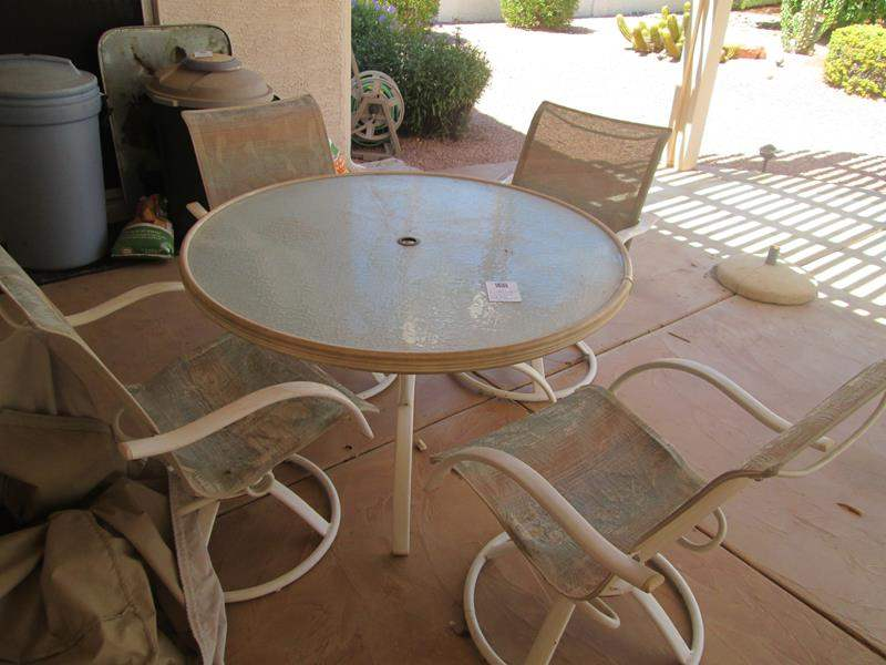 "Lot # 164 - 48"" Patio Table/4-Swivel Chairs Need Recovering (main image)"