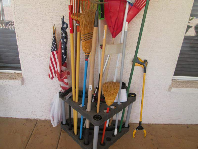 Lot # 166 - Variety of Cleaning & Yard Equipment with Stand (main image)