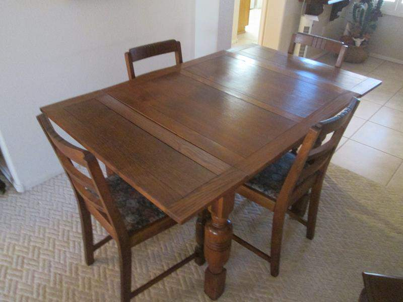 """Lot # 172-Dining or Game Table/4-Chairs (90"""" X 35""""open/35"""" X 35""""closed) (main image)"""