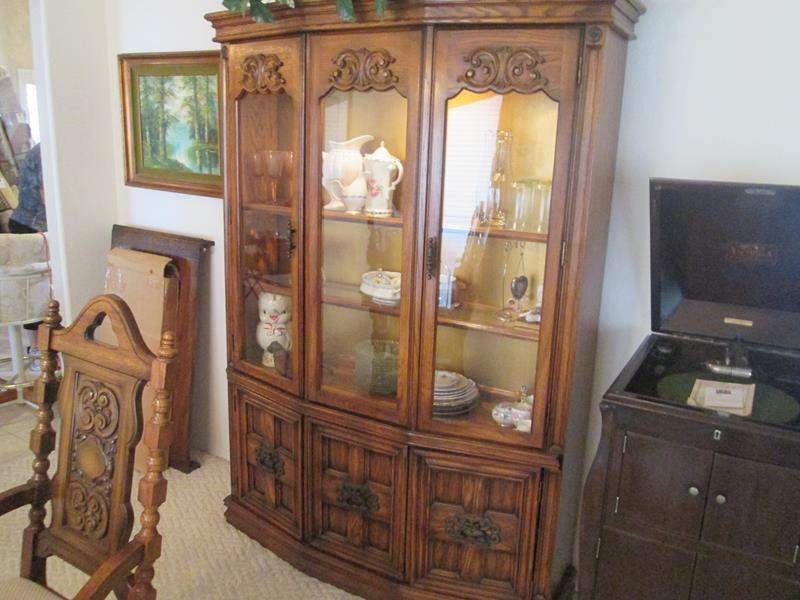 "Lot # 174 - China Cabinet, 50"" x 74"" (One Piece Unit) Details Below! (main image)"