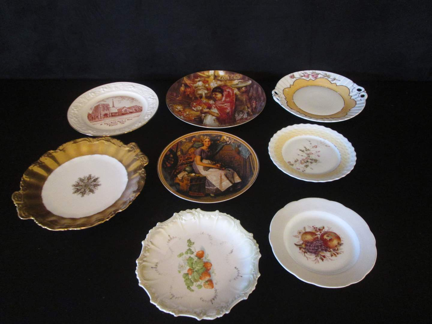 Lot # 185 - Collectible Plates + Gold-Trim Cake Plate (main image)