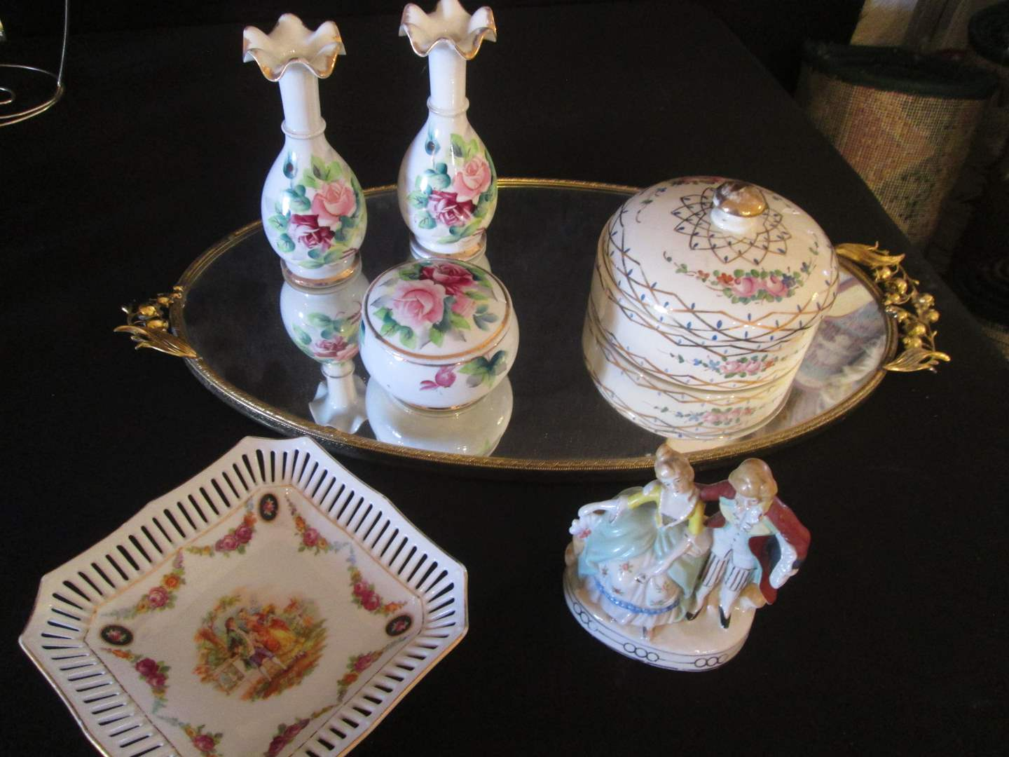 Lot # 188 - Dresser Tray, Covered Boxes, Vases & Sculpture (main image)
