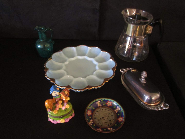 Lot # 189 - Gold-Trim Egg Plate, MCM Coffee Pot + Serving Items (main image)