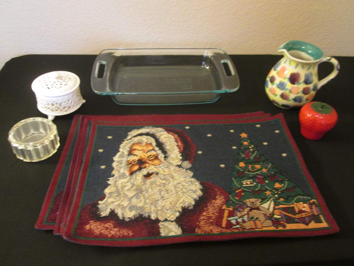 Lot # 248 - Pyrex Baking Dish, Holiday Placemats + + + (main image)