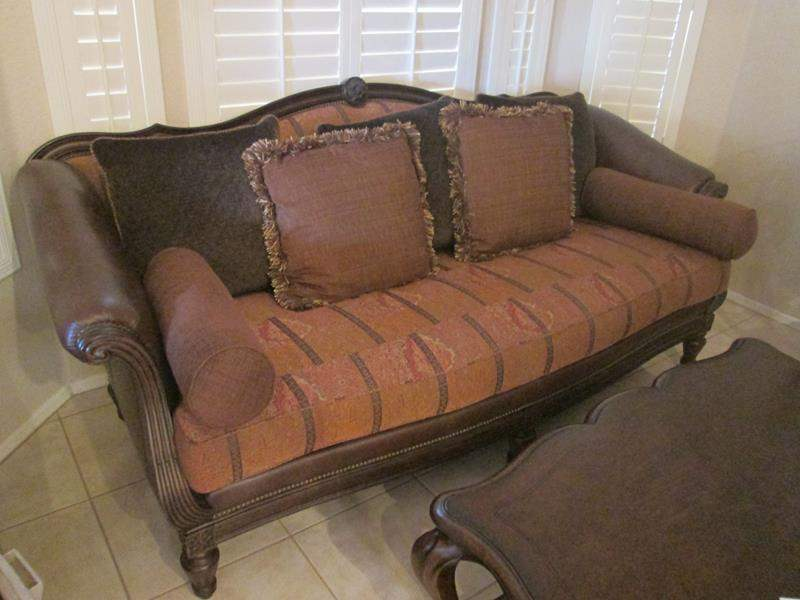 "Lot # 228 - 93"" Thomasville Sofa, Leather & Upholstery Mix with Carved Frames (main image)"