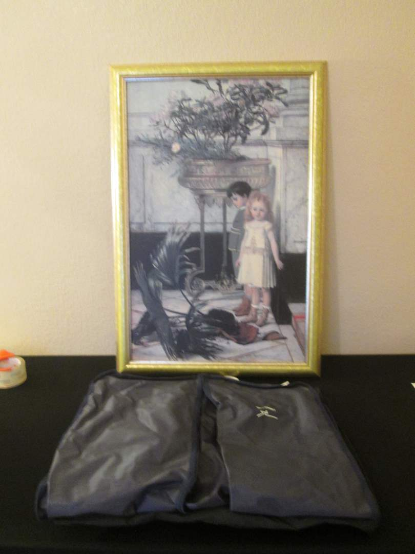 Lot # 261 - Framed Picture & Garment Bags (main image)