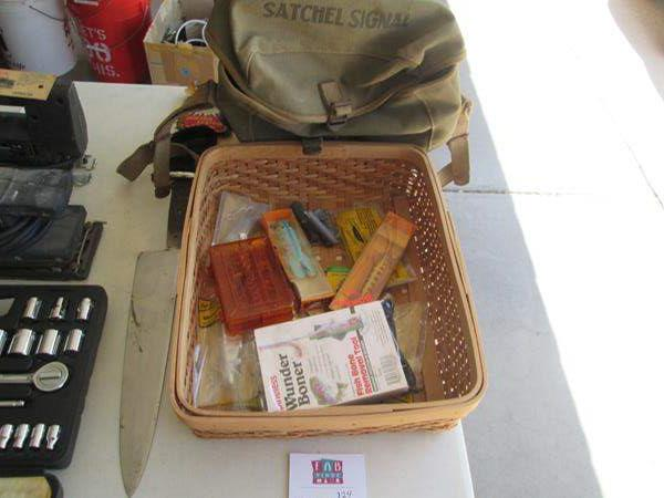 Lot # 124 - Wading Boots, Size 10, Fishing Lures & Pocket Warmers (main image)