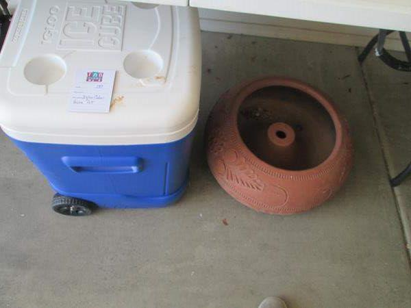 Lot # 137 - Igloo Cooler on Wheels with Handle + Hose Pot (main image)