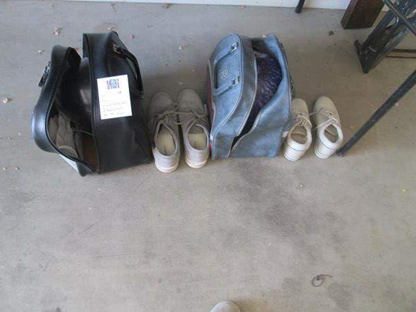Lot # 138 - 2-Bowling Balls with Bags + Shoes (Sizes 8-E & 6 1/2-M) (main image)