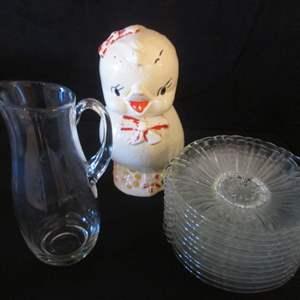 "Auction Thumbnail for: Lot # 183 - ""Shawnee"" Cookie Jar, C-1950's + Glass Dessert Plates & Pitcher"