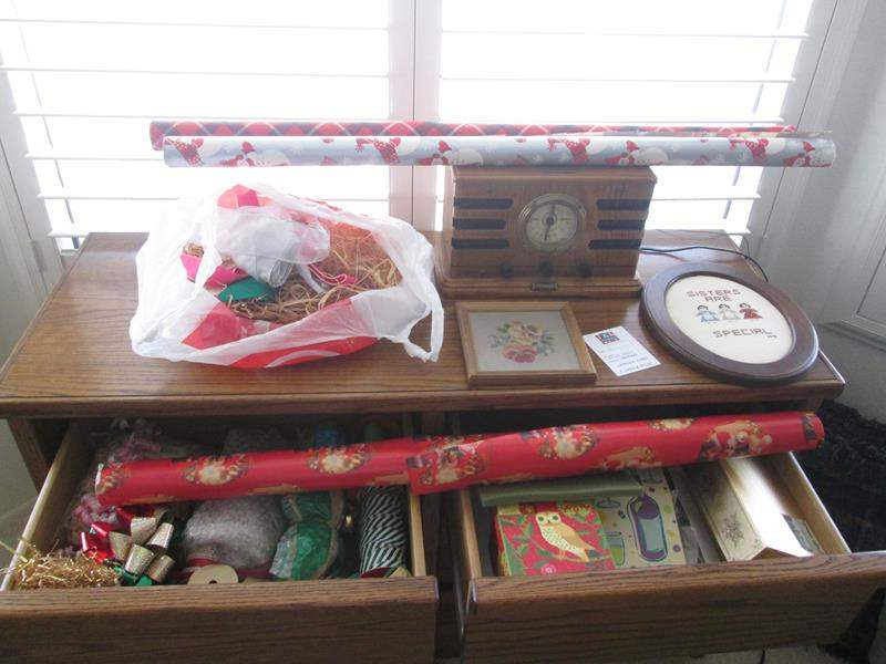 Lot # 2 - Holiday Gift Wrap, Crosley Radio & Needlepoint Plaques (main image)