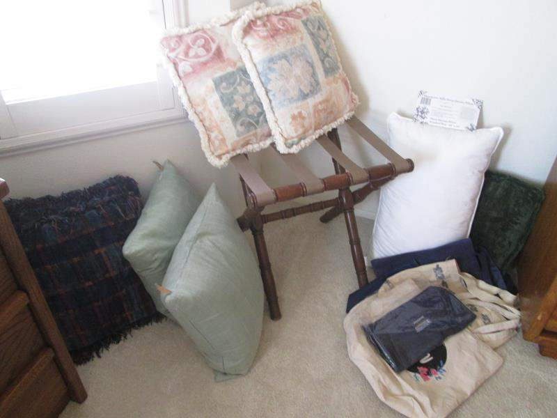 Lot # 3 - Down Bed Pillow & Throw Pillows, Luggage Rack & Totes (main image)