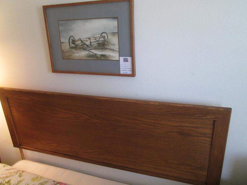 Lot # 8 - Queen Headboard with Frame & Framed Art (main image)