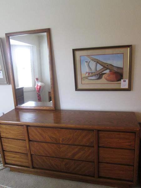 Lot # 9 - Lane 9-Drawer Dresser & Mirror (main image)
