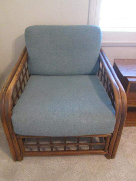 Lot # 21 - Bamboo & Upholstered Arm Chair (main image)