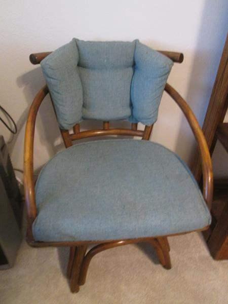 Lot # 23 - Bamboo & Upholstered Swivel Chair (main image)