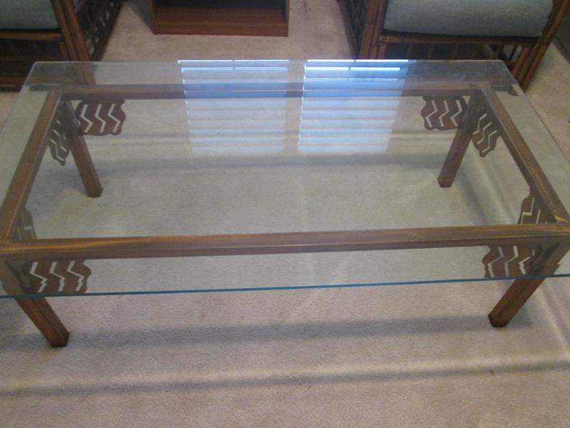 Lot # 24 - Glass & Copper-Framed Coffee Table (main image)