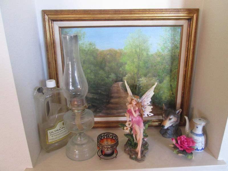Lot # 26 - Framed Art, Hurricane Lamp & Sculpture, 8 Items (main image)