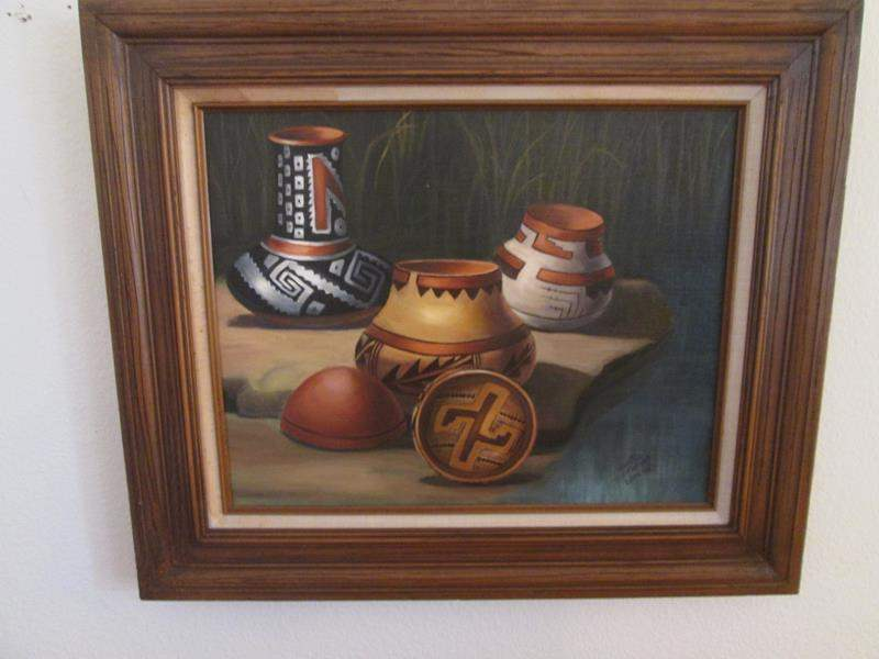 Lot # 28 - Framed Native American Pottery Still-Life (main image)