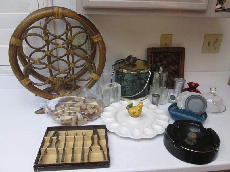 Lot # 57 - Vintage Ice Bucket, Bar Ware & Ash Trays + Serving Items (main image)