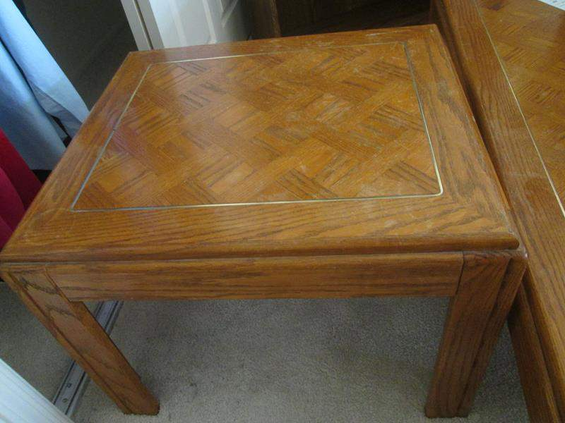 Lot # 109 - Parquet End Table with Brass Inset (main image)