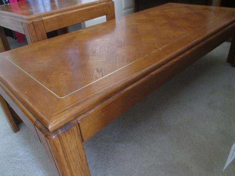 Lot # 110 - Parquet Coffee Table with Brass Inset (main image)